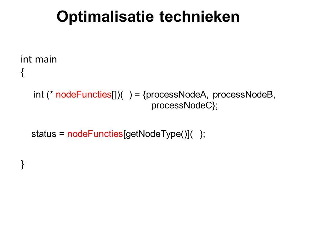 Optimalisatie technieken int (* nodeFuncties[])( ) = {processNodeA, processNodeB, processNodeC}; status = nodeFuncties[getNodeType()]( ); int main { }