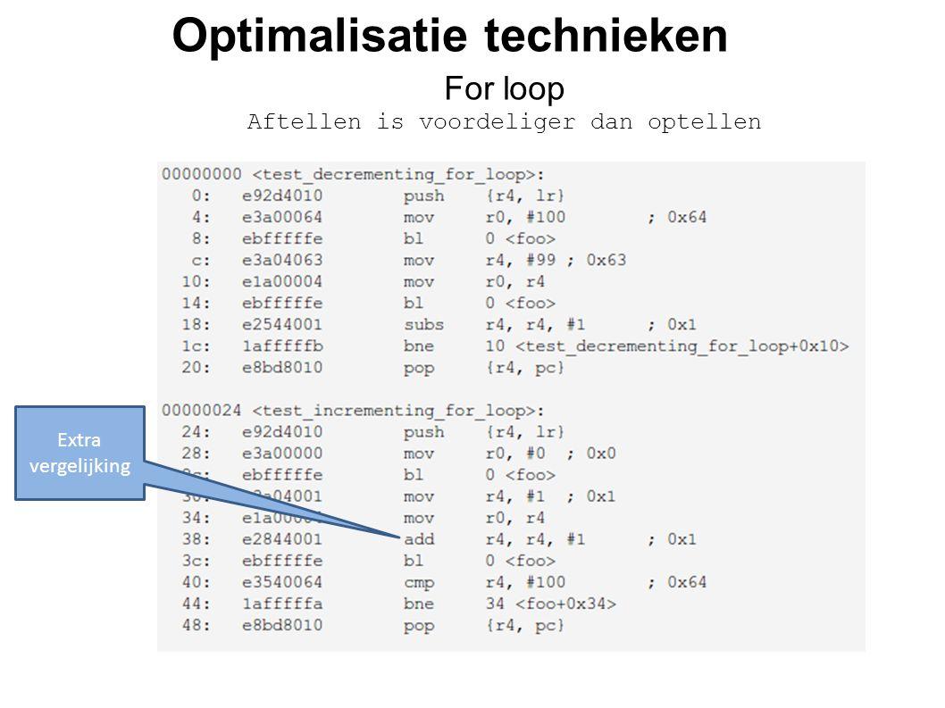 Optimalisatie technieken For loop Aftellen is voordeliger dan optellen Extra vergelijking
