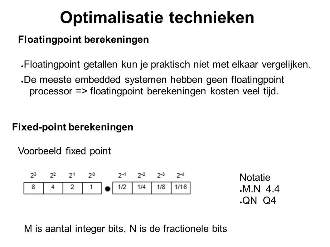 Fixed-point berekeningen Optimalisatie technieken ● Floatingpoint getallen kun je praktisch niet met elkaar vergelijken. ● De meeste embedded systemen