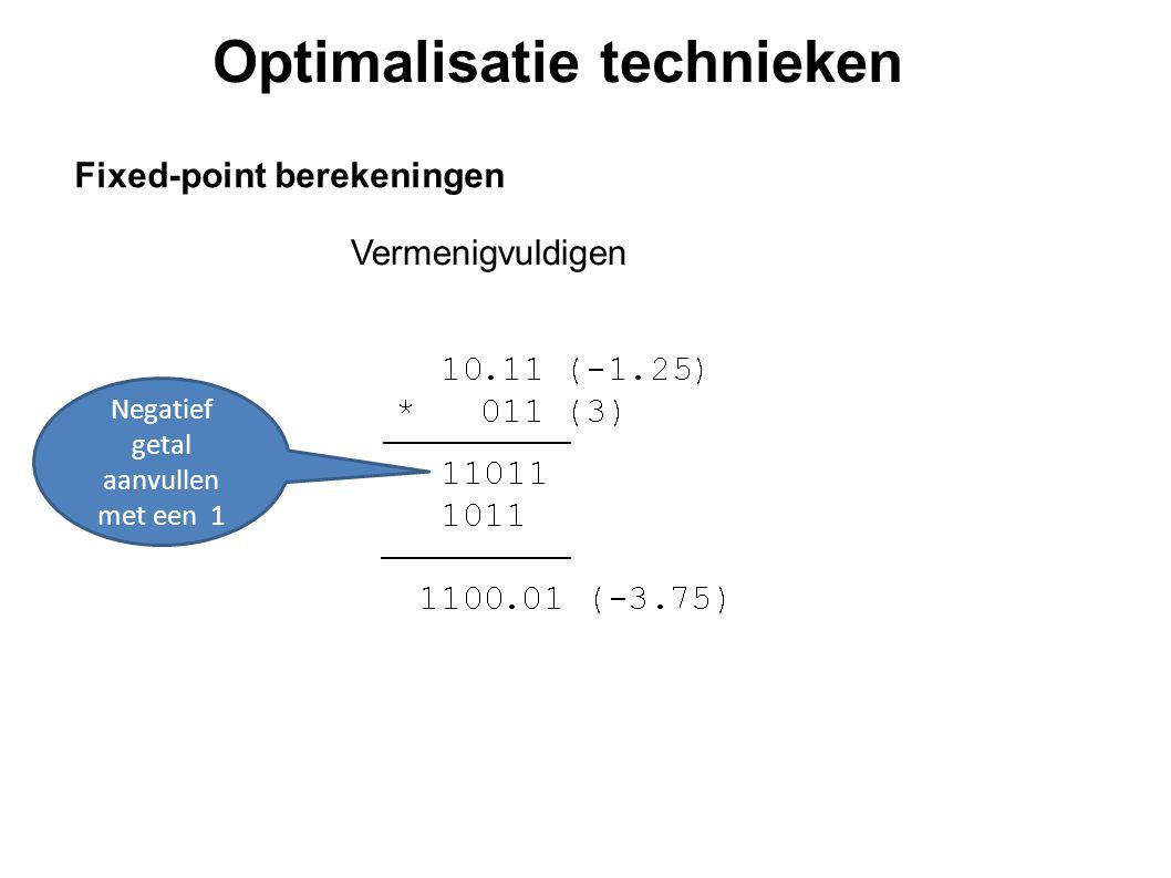 Optimalisatie technieken Fixed-point berekeningen Vermenigvuldig met 2 N en rond af naar dichtstbijzijnde integer.