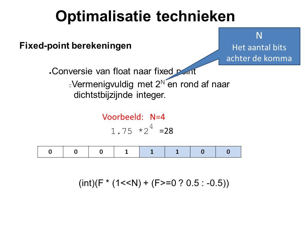 Optimalisatie technieken Fixed-point berekeningen Vermenigvuldig met 2 N en rond af naar dichtstbijzijnde integer. (int)(F * (1 =0 ? 0.5 : -0.5)) ● Co