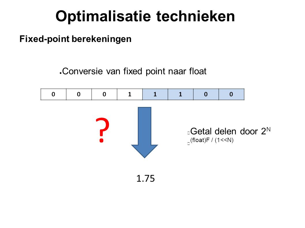 Optimalisatie technieken Fixed-point berekeningen ● Conversie van fixed point naar float Getal delen door 2 N (float)F / (1<<N) 00011100 1.75 ?