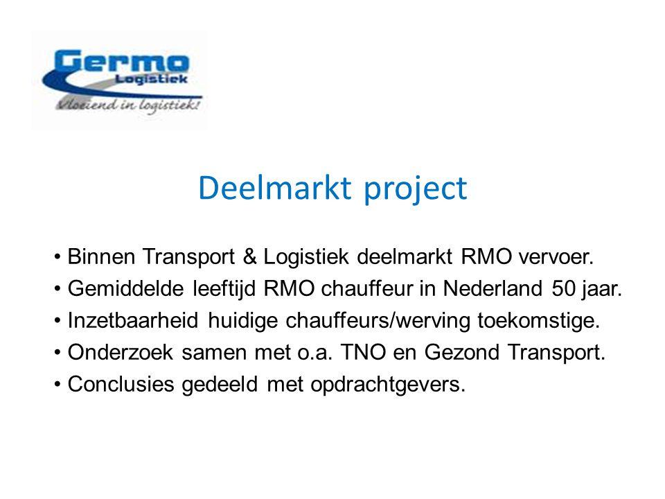 Deelmarkt project Binnen Transport & Logistiek deelmarkt RMO vervoer. Gemiddelde leeftijd RMO chauffeur in Nederland 50 jaar. Inzetbaarheid huidige ch