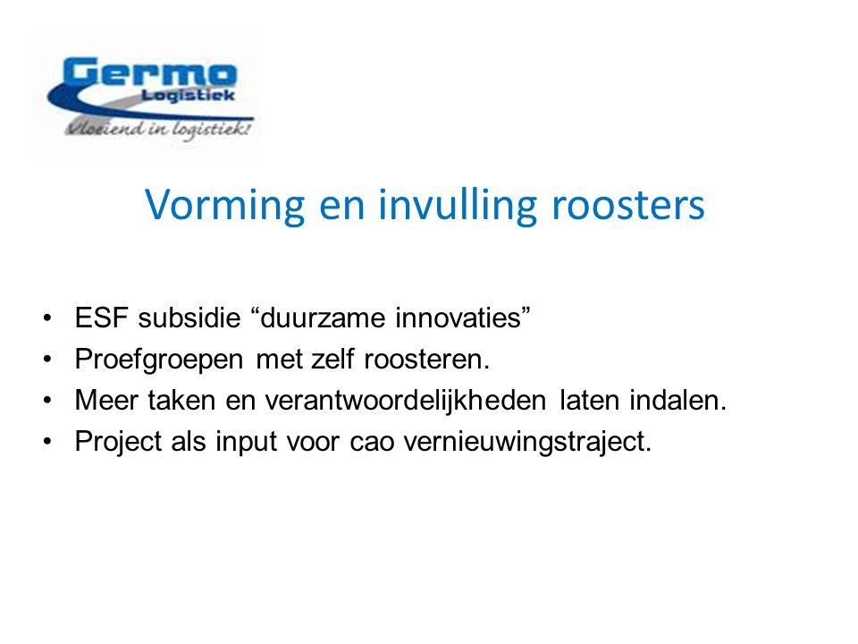 """Vorming en invulling roosters ESF subsidie """"duurzame innovaties"""" Proefgroepen met zelf roosteren. Meer taken en verantwoordelijkheden laten indalen. P"""