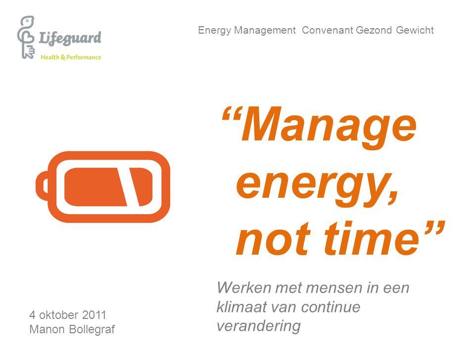 """Energy Management Convenant Gezond Gewicht Werken met mensen in een klimaat van continue verandering 4 oktober 2011 Manon Bollegraf """"Manage energy, no"""