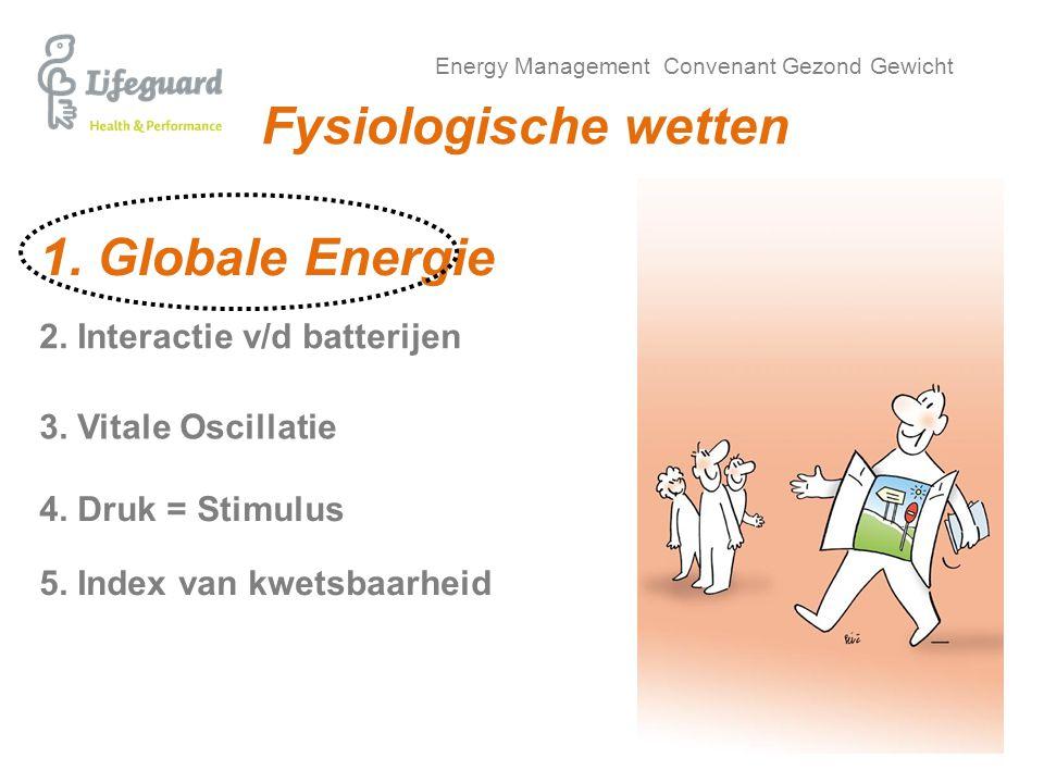Energy Management Convenant Gezond Gewicht Fysiologische wetten 1. Globale Energie 4. Druk = Stimulus 2. Interactie v/d batterijen 5. Index van kwetsb