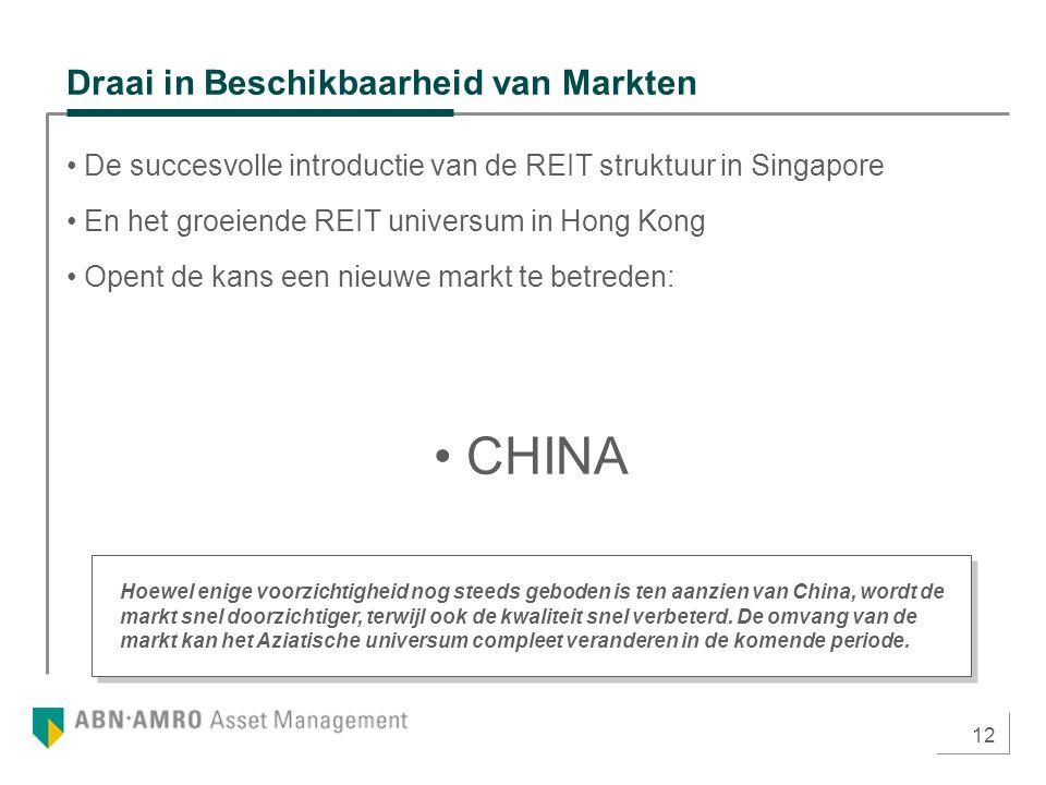 12 Draai in Beschikbaarheid van Markten De succesvolle introductie van de REIT struktuur in Singapore En het groeiende REIT universum in Hong Kong Ope