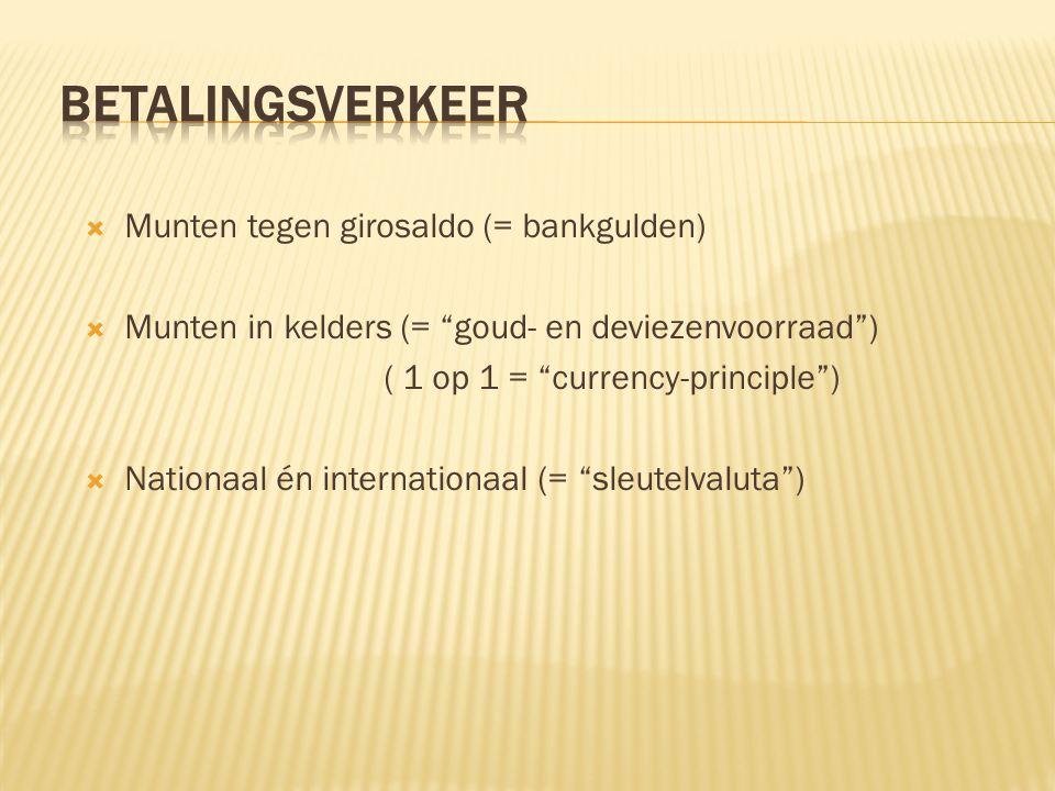 """ Munten tegen girosaldo (= bankgulden)  Munten in kelders (= """"goud- en deviezenvoorraad"""") ( 1 op 1 = """"currency-principle"""")  Nationaal én internatio"""