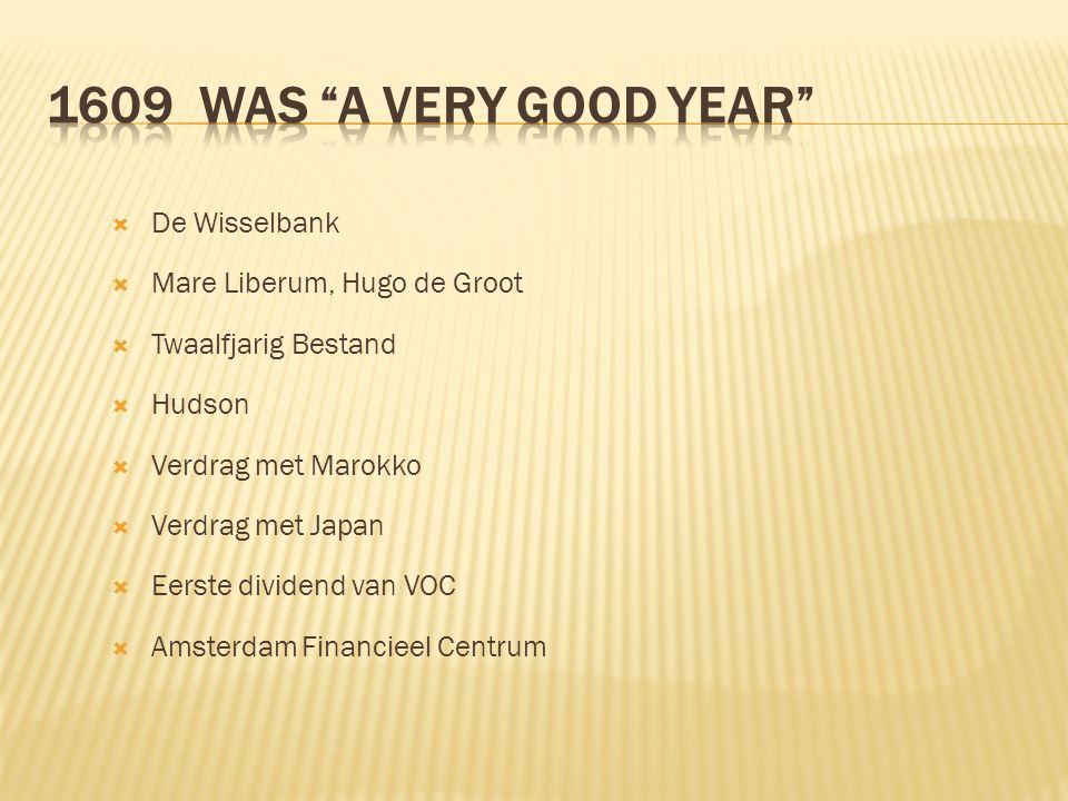  De Wisselbank  Mare Liberum, Hugo de Groot  Twaalfjarig Bestand  Hudson  Verdrag met Marokko  Verdrag met Japan  Eerste dividend van VOC  Ams