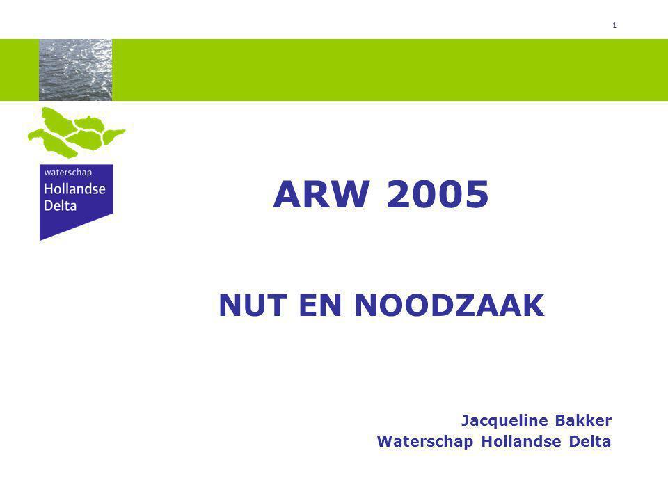 1 ARW 2005 NUT EN NOODZAAK Jacqueline Bakker Waterschap Hollandse Delta