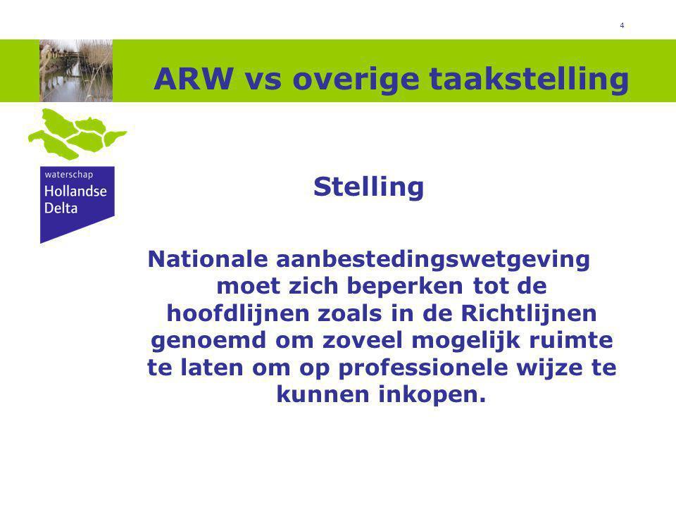 4 ARW vs overige taakstelling Stelling Nationale aanbestedingswetgeving moet zich beperken tot de hoofdlijnen zoals in de Richtlijnen genoemd om zoveel mogelijk ruimte te laten om op professionele wijze te kunnen inkopen.