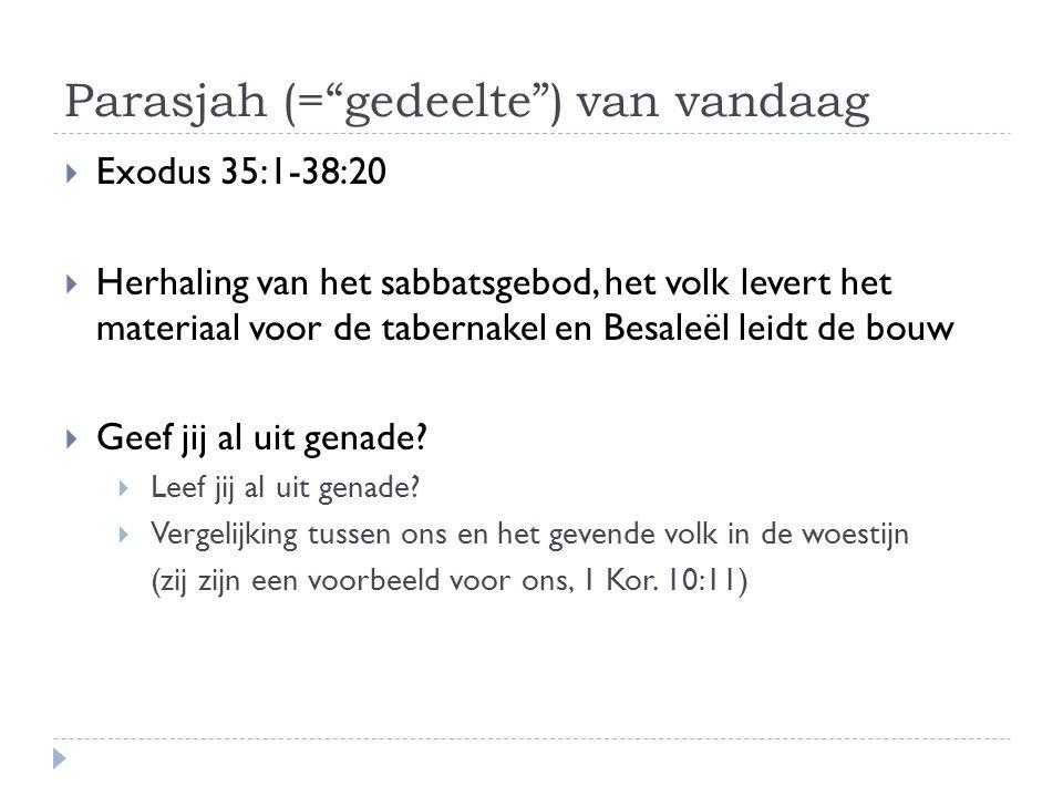 """Parasjah (=""""gedeelte"""") van vandaag  Exodus 35:1-38:20  Herhaling van het sabbatsgebod, het volk levert het materiaal voor de tabernakel en Besaleël"""