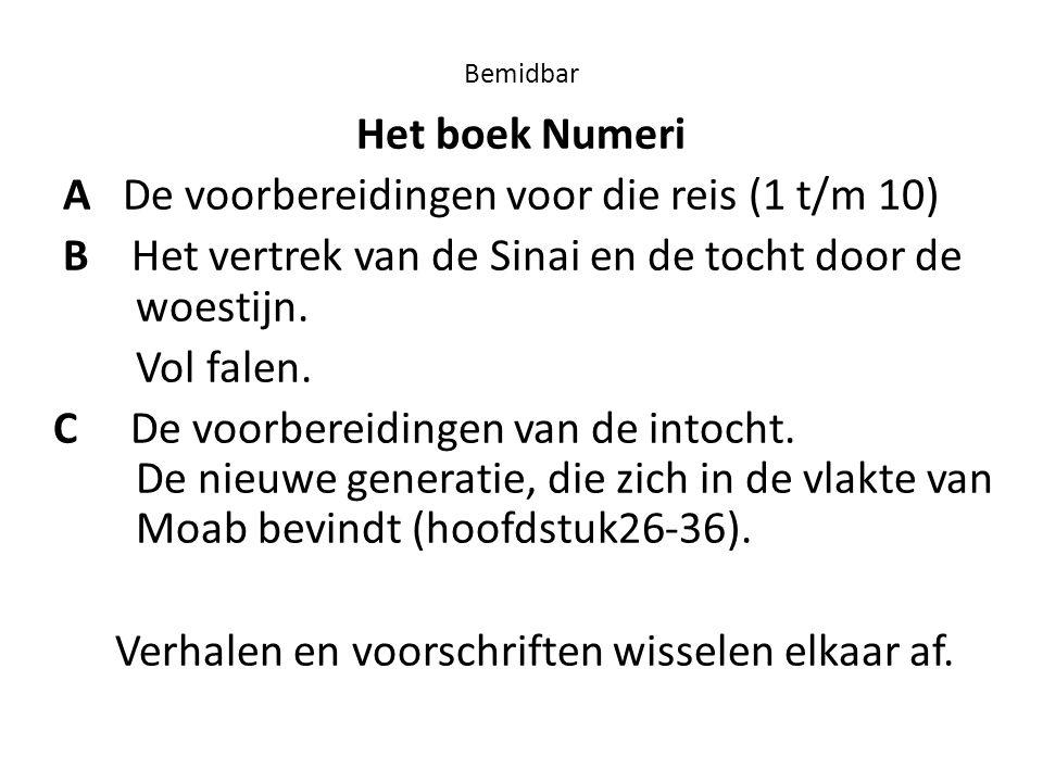 Bemidbar Het boek Numeri A De voorbereidingen voor die reis (1 t/m 10) B Het vertrek van de Sinai en de tocht door de woestijn. Vol falen. C De voorbe