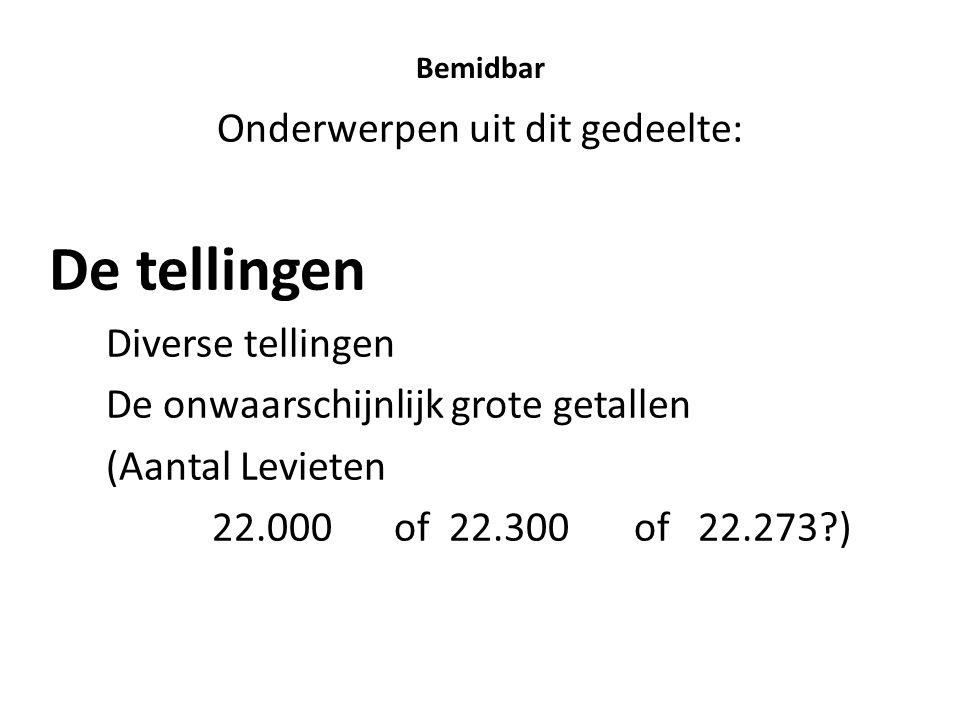 Bemidbar Onderwerpen uit dit gedeelte: De tellingen Diverse tellingen De onwaarschijnlijk grote getallen (Aantal Levieten 22.000 of 22.300 of 22.273?)