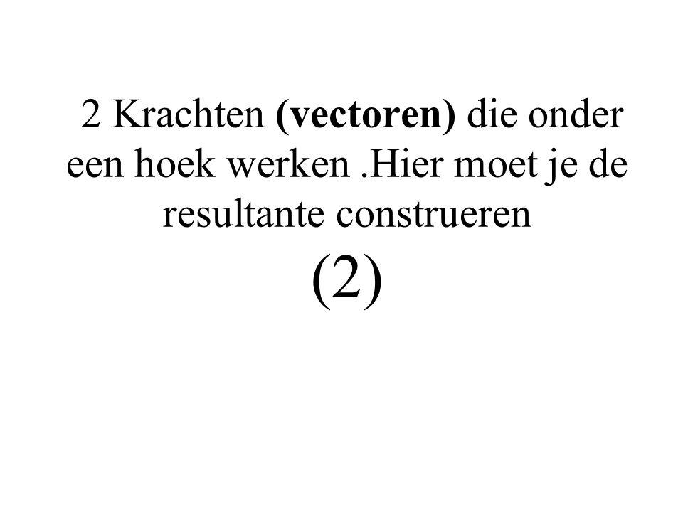 2 Krachten (vectoren) die onder een hoek werken.Hier moet je de resultante construeren (2)