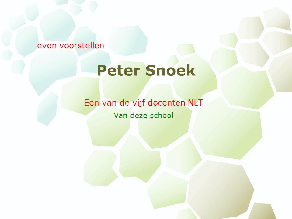Peter Snoek Een van de vijf docenten NLT Van deze school even voorstellen