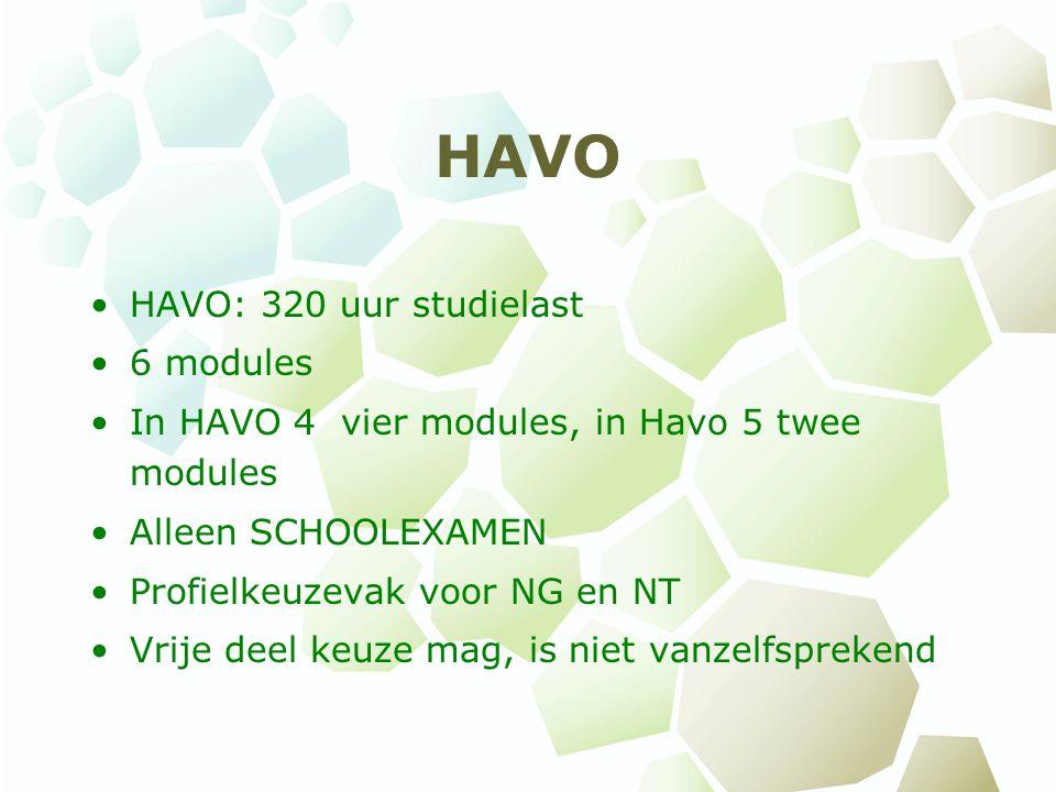 HAVO HAVO: 320 uur studielast 6 modules In HAVO 4 vier modules, in Havo 5 twee modules Alleen SCHOOLEXAMEN Profielkeuzevak voor NG en NT Vrije deel keuze mag, is niet vanzelfsprekend