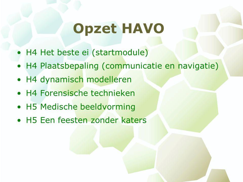 Opzet HAVO H4 Het beste ei (startmodule) H4 Plaatsbepaling (communicatie en navigatie) H4 dynamisch modelleren H4 Forensische technieken H5 Medische beeldvorming H5 Een feesten zonder katers