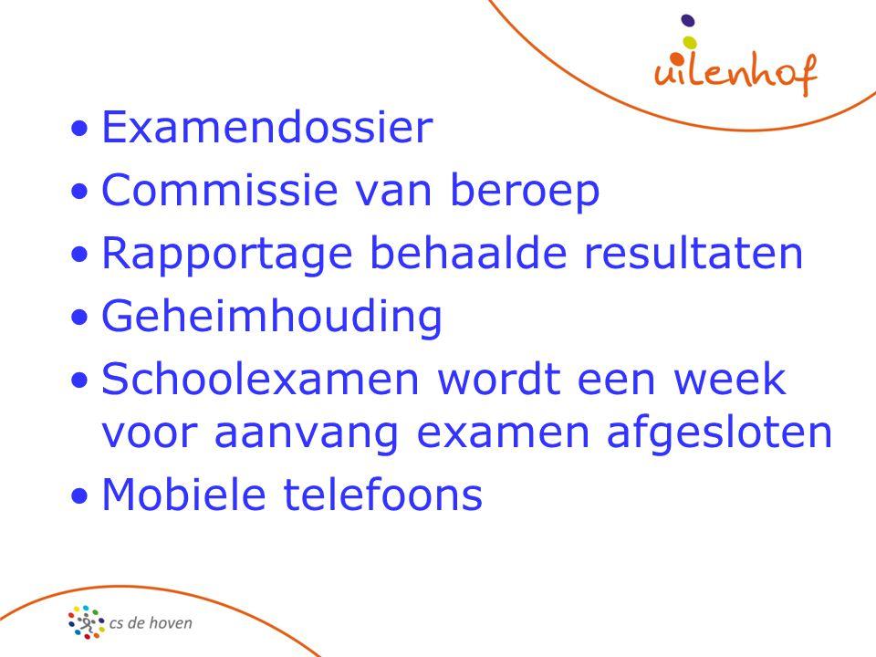 Examendossier Commissie van beroep Rapportage behaalde resultaten Geheimhouding Schoolexamen wordt een week voor aanvang examen afgesloten Mobiele telefoons
