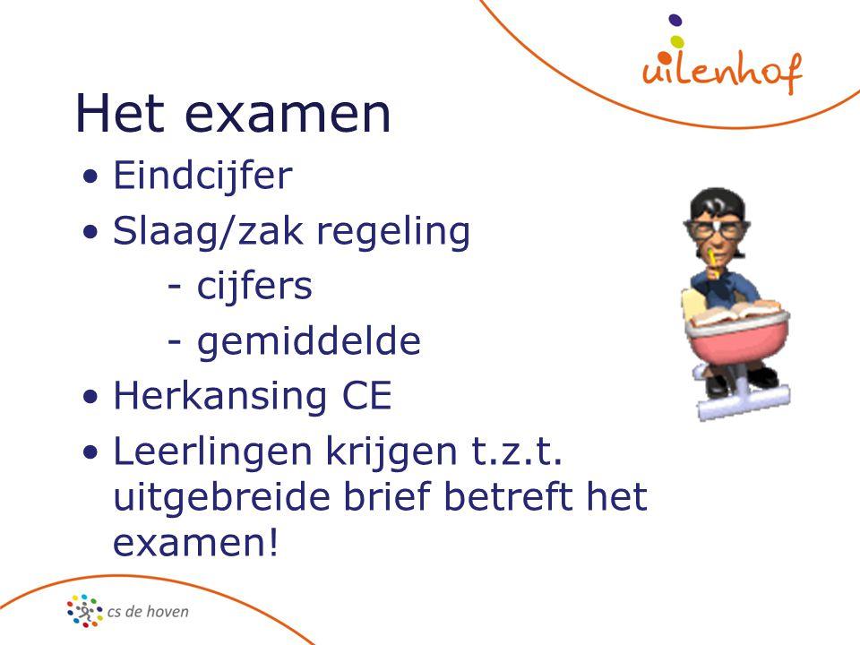 Het examen Eindcijfer Slaag/zak regeling - cijfers - gemiddelde Herkansing CE Leerlingen krijgen t.z.t. uitgebreide brief betreft het examen!