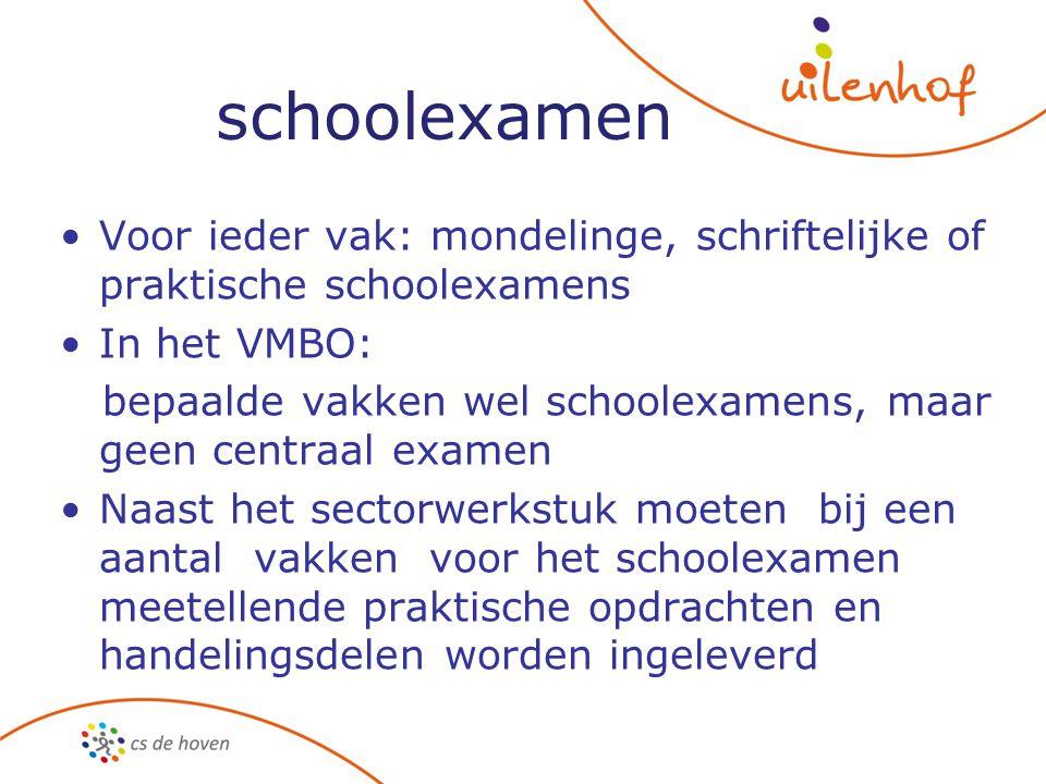 schoolexamen Voor ieder vak: mondelinge, schriftelijke of praktische schoolexamens In het VMBO: bepaalde vakken wel schoolexamens, maar geen centraal