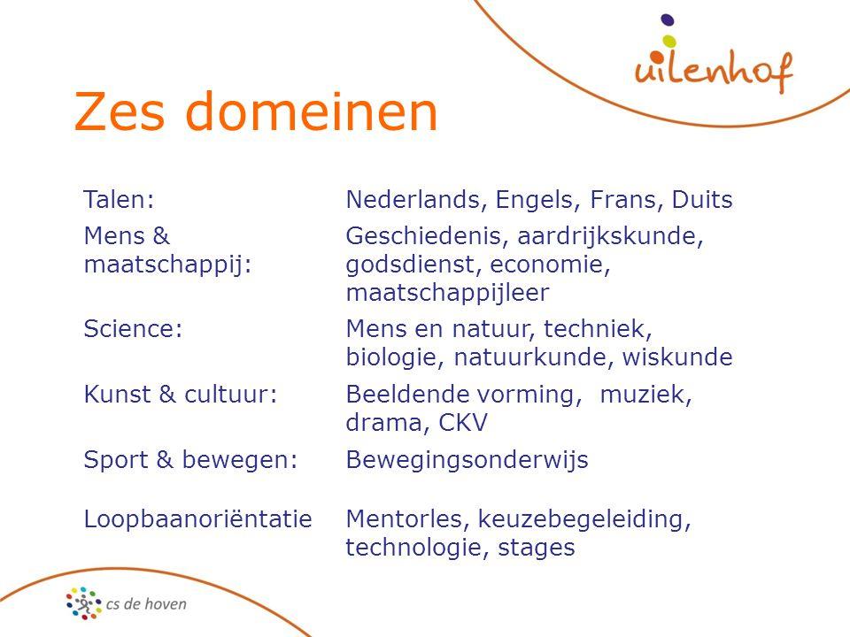 Zes domeinen Talen:Nederlands, Engels, Frans, Duits Mens & maatschappij: Geschiedenis, aardrijkskunde, godsdienst, economie, maatschappijleer Science: