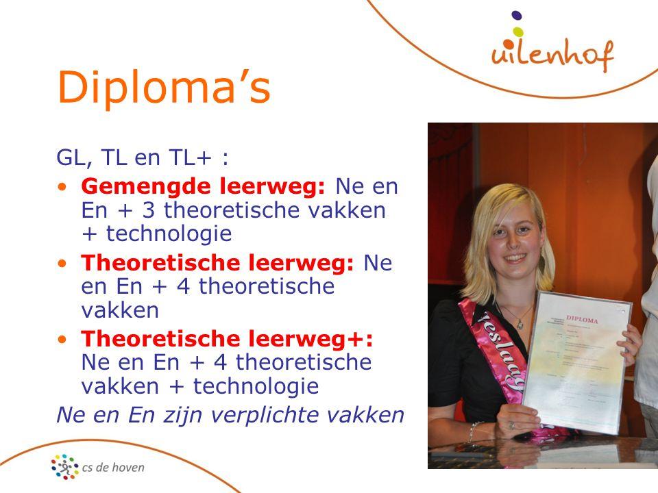 Diploma's GL, TL en TL+ : Gemengde leerweg: Ne en En + 3 theoretische vakken + technologie Theoretische leerweg: Ne en En + 4 theoretische vakken Theo