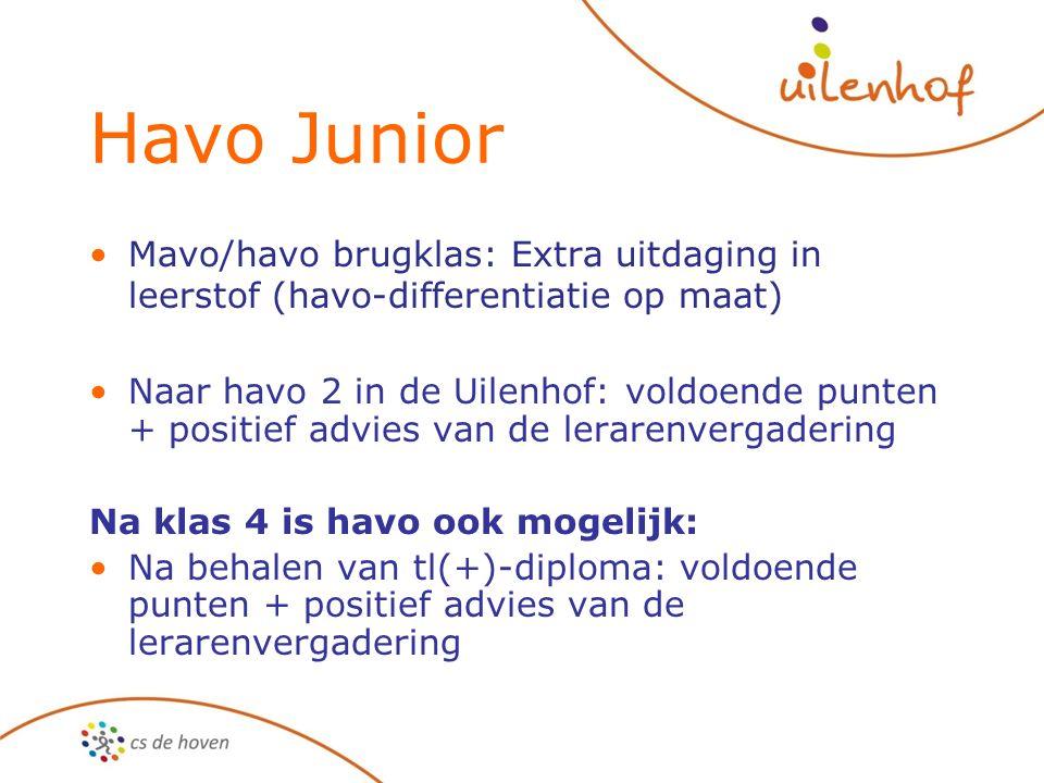 Havo Junior Mavo/havo brugklas: Extra uitdaging in leerstof (havo-differentiatie op maat) Naar havo 2 in de Uilenhof: voldoende punten + positief advi