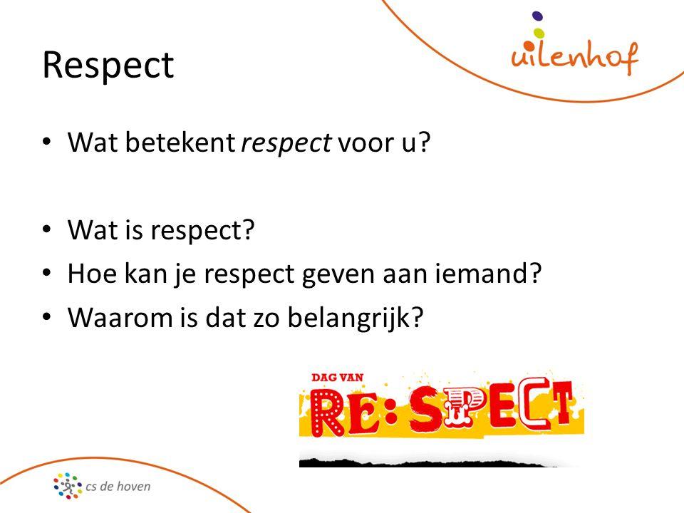 Respect Wat betekent respect voor u? Wat is respect? Hoe kan je respect geven aan iemand? Waarom is dat zo belangrijk?