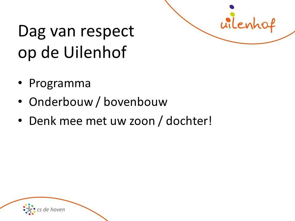 Dag van respect op de Uilenhof Programma Onderbouw / bovenbouw Denk mee met uw zoon / dochter!