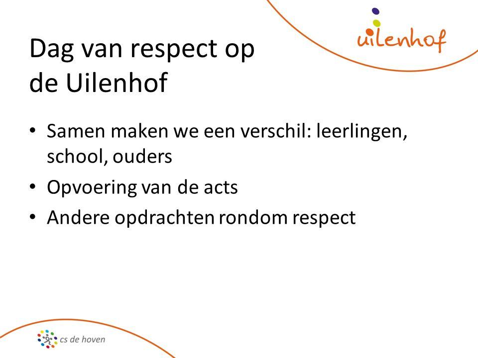 Samen maken we een verschil: leerlingen, school, ouders Opvoering van de acts Andere opdrachten rondom respect