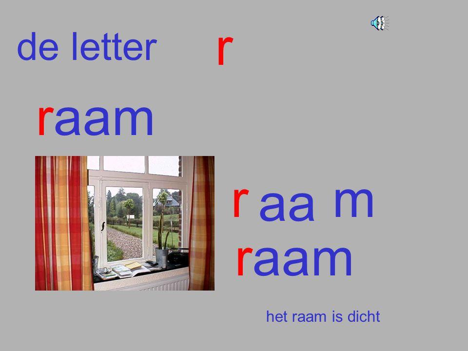 de letter r raam r aa m raam het raam is dicht