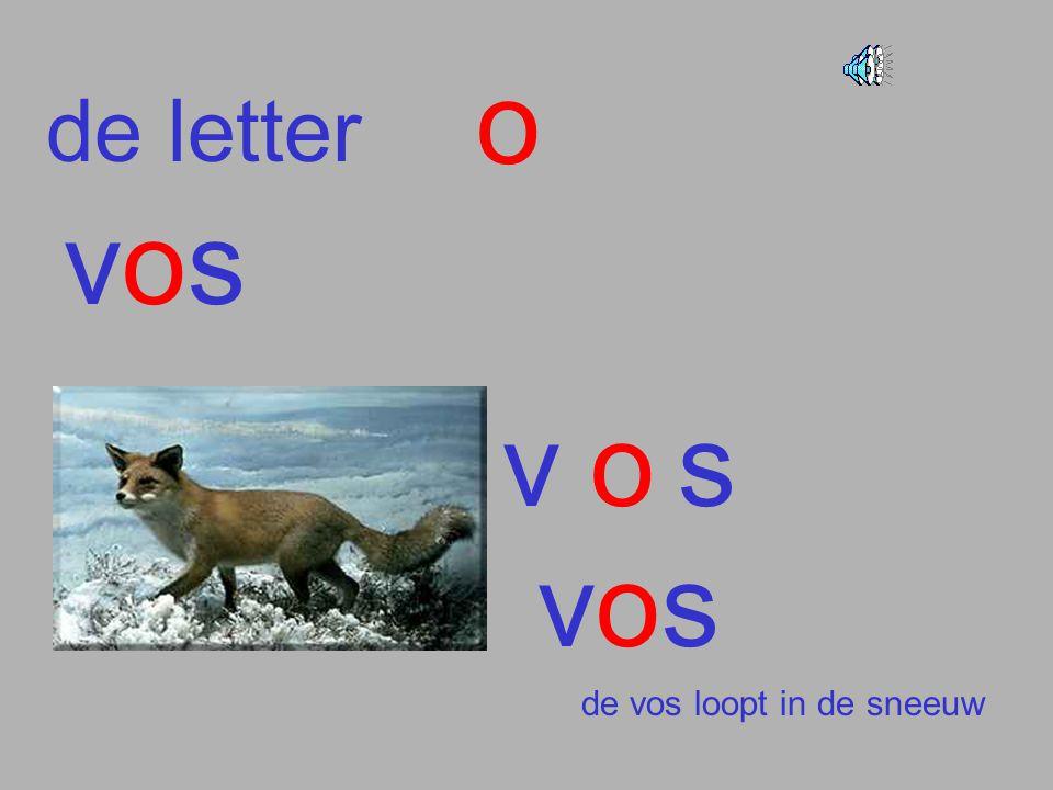 de letter o vosvos vos vosvos de vos loopt in de sneeuw