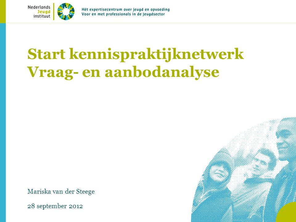 Start kennispraktijknetwerk Vraag- en aanbodanalyse Mariska van der Steege 28 september 2012