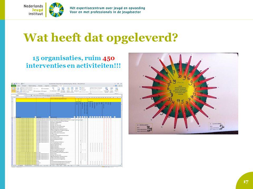 Wat heeft dat opgeleverd? 15 organisaties, ruim 450 interventies en activiteiten!!! 17