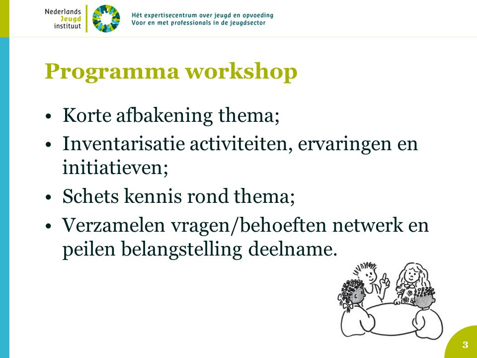 Programma workshop Korte afbakening thema; Inventarisatie activiteiten, ervaringen en initiatieven; Schets kennis rond thema; Verzamelen vragen/behoeften netwerk en peilen belangstelling deelname.