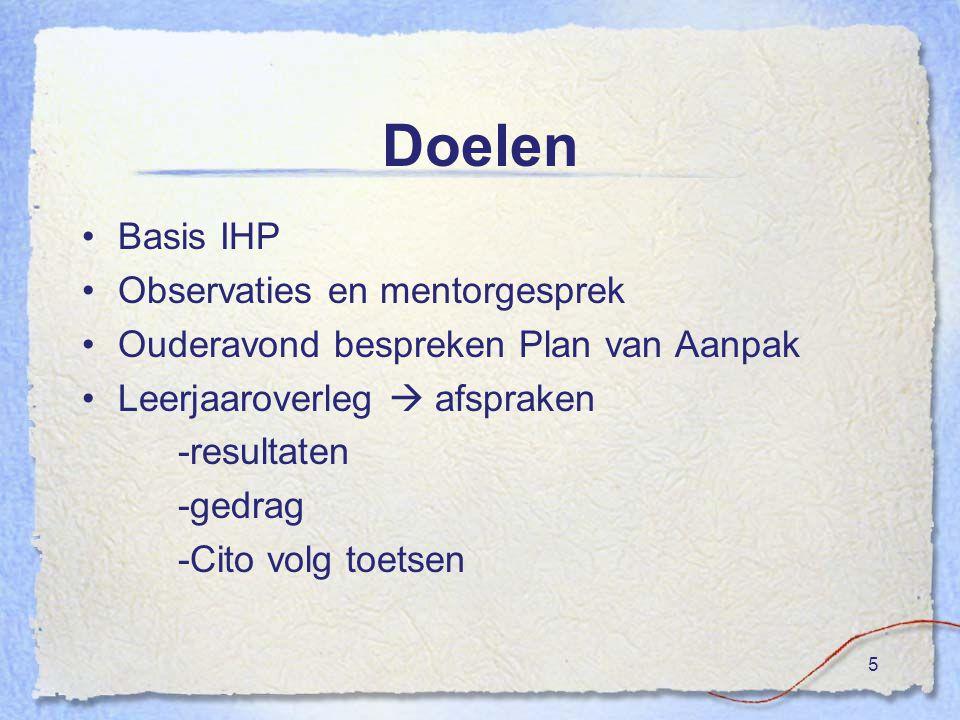 Doelen Basis IHP Observaties en mentorgesprek Ouderavond bespreken Plan van Aanpak Leerjaaroverleg  afspraken -resultaten -gedrag -Cito volg toetsen 5