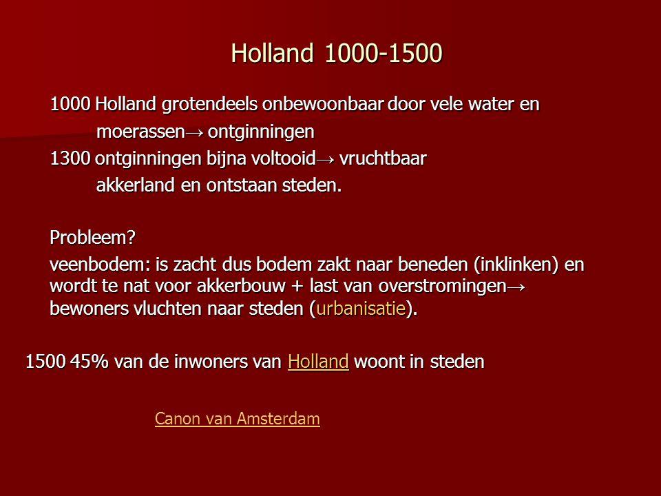 Holland 1000-1500 1000 Holland grotendeels onbewoonbaar door vele water en moerassen → ontginningen moerassen → ontginningen 1300 ontginningen bijna v