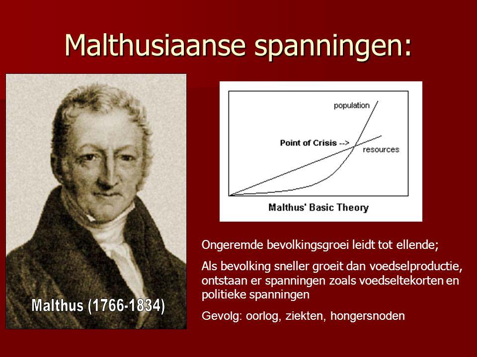 Malthusiaanse spanningen: Ongeremde bevolkingsgroei leidt tot ellende; Als bevolking sneller groeit dan voedselproductie, ontstaan er spanningen zoals