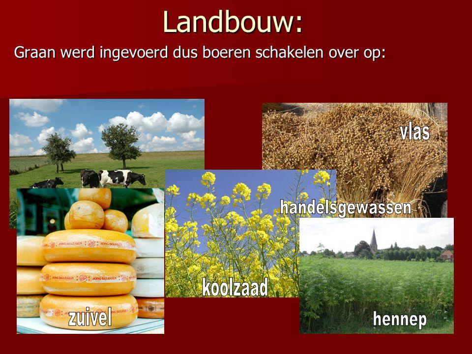 Landbouw: Graan werd ingevoerd dus boeren schakelen over op: