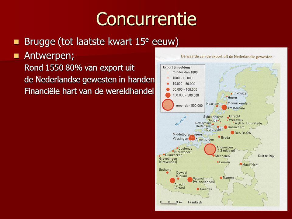 Concurrentie Brugge (tot laatste kwart 15 e eeuw) Brugge (tot laatste kwart 15 e eeuw) Antwerpen; Antwerpen; Rond 1550 80% van export uit de Nederland