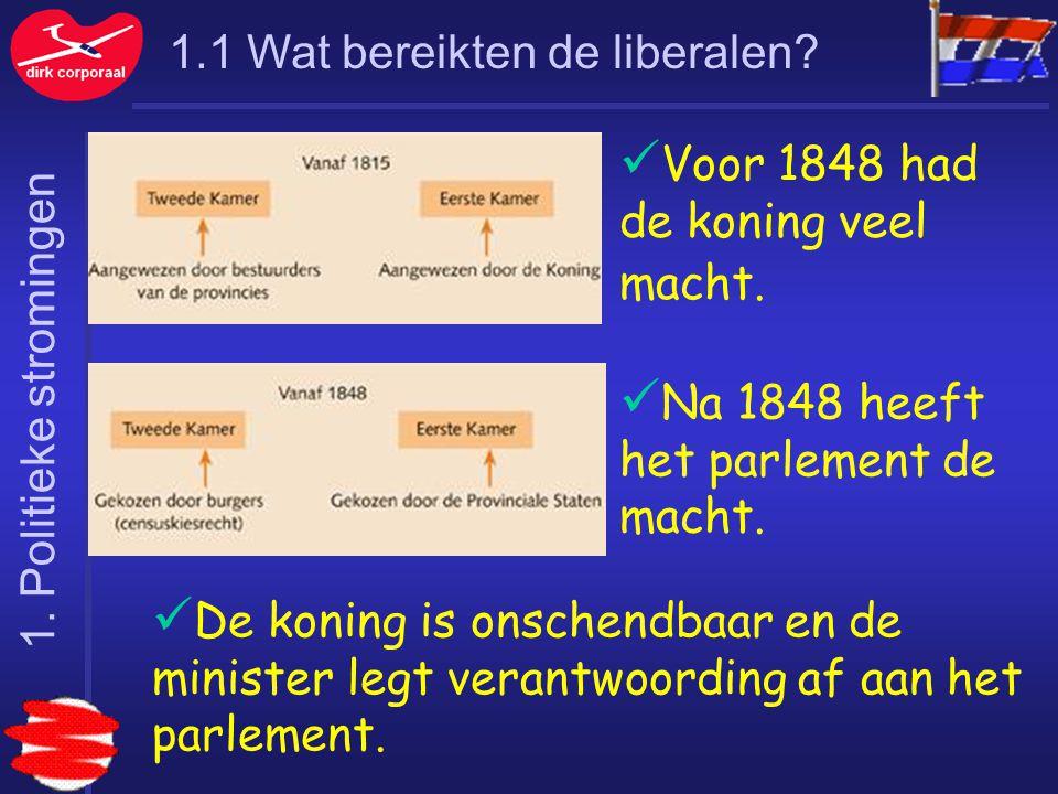 1.1 Wat bereikten de liberalen? Voor 1848 had de koning veel macht. Na 1848 heeft het parlement de macht. De koning is onschendbaar en de minister leg