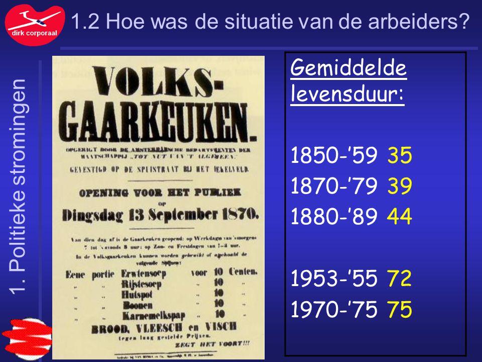 1.2 Hoe was de situatie van de arbeiders? Gemiddelde levensduur: 1850-'5935 1870-'7939 1880-'8944 1953-'5572 1970-'7575 1. Politieke stromingen