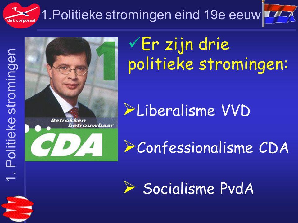 1.Politieke stromingen eind 19e eeuw Er zijn drie politieke stromingen:  Liberalisme VVD  Confessionalisme CDA  Socialisme PvdA 1. Politieke stromi