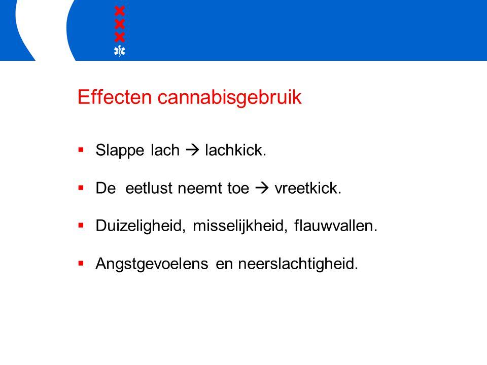 Effecten cannabisgebruik  Slappe lach  lachkick.  De eetlust neemt toe  vreetkick.  Duizeligheid, misselijkheid, flauwvallen.  Angstgevoelens en