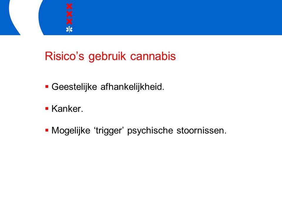 Risico's gebruik cannabis  Geestelijke afhankelijkheid.  Kanker.  Mogelijke 'trigger' psychische stoornissen.