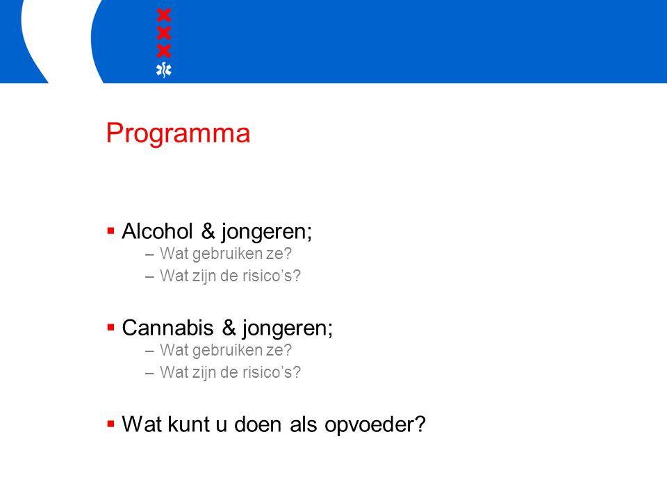Programma  Alcohol & jongeren; –Wat gebruiken ze? –Wat zijn de risico's?  Cannabis & jongeren; –Wat gebruiken ze? –Wat zijn de risico's?  Wat kunt