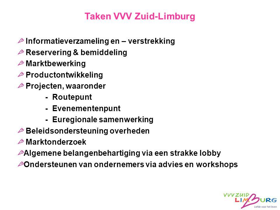 Taken VVV Zuid-Limburg Informatieverzameling en – verstrekking Reservering & bemiddeling Marktbewerking Productontwikkeling Projecten, waaronder - Rou