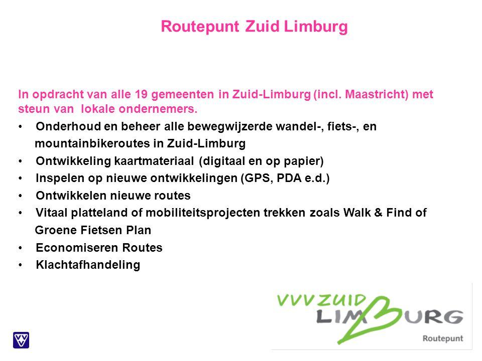In opdracht van alle 19 gemeenten in Zuid-Limburg (incl. Maastricht) met steun van lokale ondernemers. Onderhoud en beheer alle bewegwijzerde wandel-,