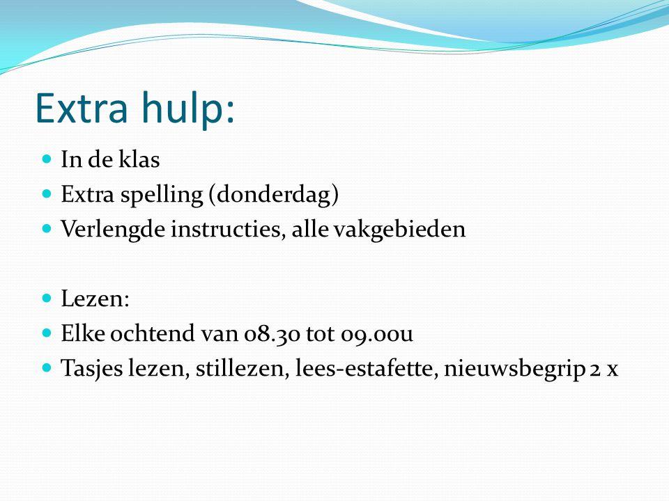 Extra hulp: In de klas Extra spelling (donderdag) Verlengde instructies, alle vakgebieden Lezen: Elke ochtend van 08.30 tot 09.00u Tasjes lezen, still